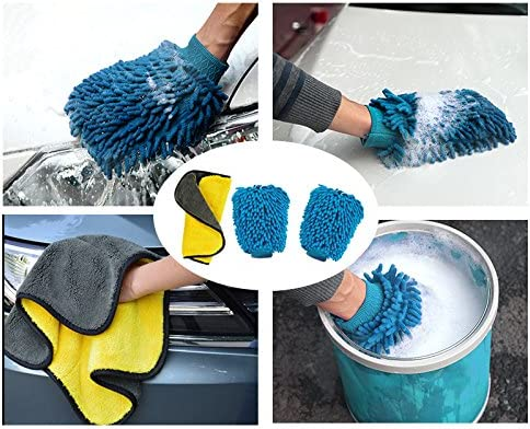 Blue Double Sided and 1 Pack Premium Towel Aeroway Extra Large Size Chenille Microfiber Premium Scratch-Free Car Wash Mitt 2 Pack Car Wash Mitts