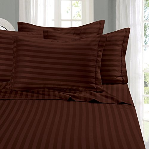 Brown Damask Stripe - Elegant Comfort Wrinkle & Fade Resistant 1500 Thread Count - Damask Stripes Egyptian Quality Luxurious Silky Soft 4-Piece Sheet Set, Up to 16