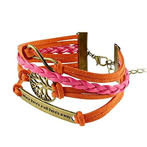 Insten Fashion Multistring Bracelet with Charms, Orange/ White/ Bronze Idiom Plate - Navy Water Resistant Bracelet
