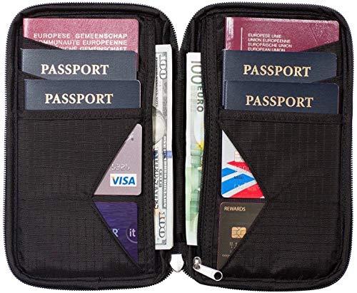 Travel Wallet & Family Passport Holder w/RFID Blocking- Document Organizer Case ...