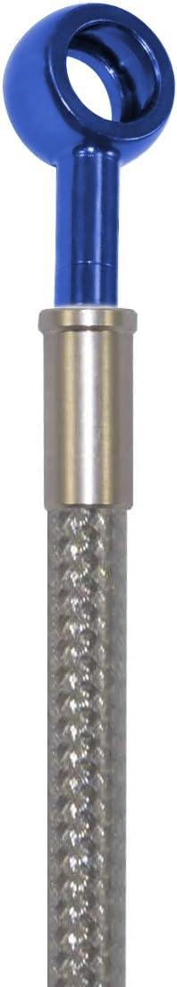 Silver Hose /& Stainless Blue Banjos Pro Braking PBR4774-SIL-BLU Rear Braided Brake Line