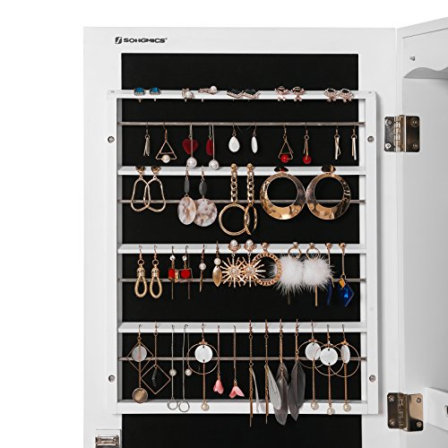 SONGMICS LED Jewelry Cabinet Armoire with 6 Drawers Lockable Door/Wall Mounted Jewelry Organizer White Patented Mother's Day Gift UJJC88W by SONGMICS (Image #8)