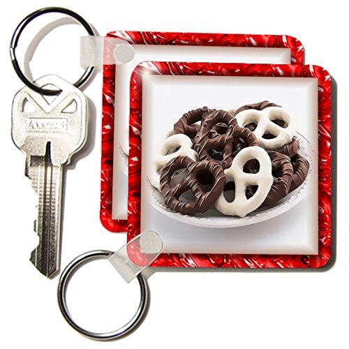 3dRose 8 x 8 x 0.25 Chocolate Pretzels Key Chains, Set of 2 (kc_28752_1)