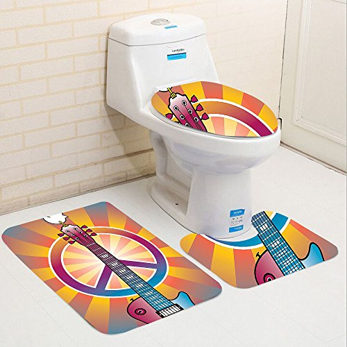 Keshia Dwete three-piece toilet seat pad custom1960s Colorful Illustration of Guitar Peace Symbol and Dove Dedicated to the Woodstock Artsy Tribute - To Atlanta Woodstock