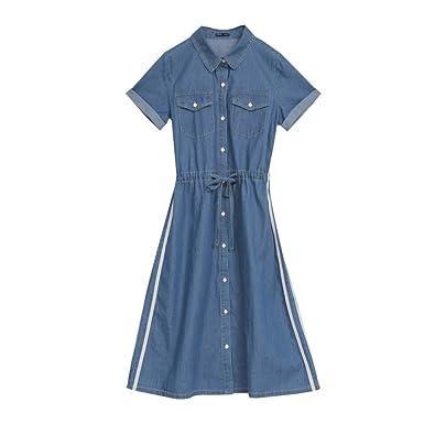 Vestidos De Rayas Azules Para Mujer Botón De Empalme POLO Collar De Algodón Verano Nueva Manga