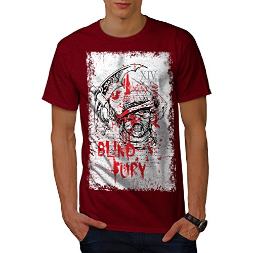 wellcoda Blind Fury Death Horror Men Red L T-Shirt - Fury Premium T-shirt