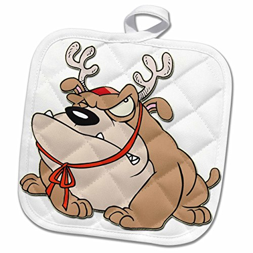 3dRose Blonde Designs Happy Holidays For All - English Bulldog With Reindeer Horns - 8x8 Potholder (phl_160452_1) (Bulldog Horn compare prices)