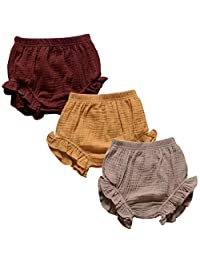 EISHOW 3PC Shorts Set Newborn Baby Girls Boys PP Pants Cotton Linen Blend Cute Floral Bloomer Triangle Shorts