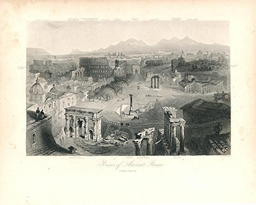 1860 Italy Antique (Colosseum & ruins Rome Italy c.1860 fine antique engraved birds-eye view)