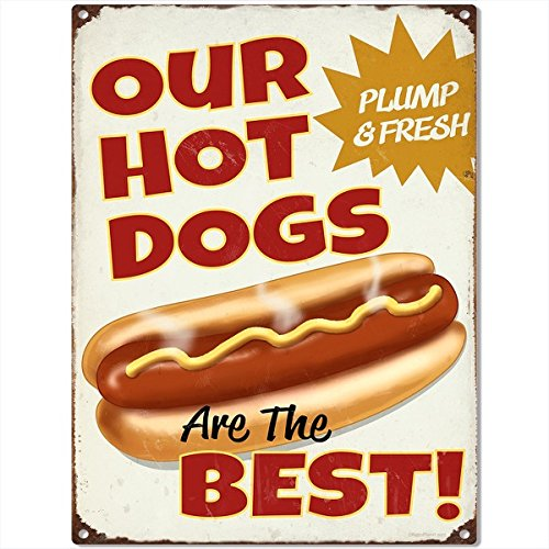 Hot Dogs Are The Best Distressed Metal Sign Diner Decor 12 x 16