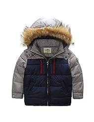 HHUU Baby Boys Kids Winter Warm Jacket Splice Hoodie Outwears Wind Coat-Blue and Gray-5-6 Years