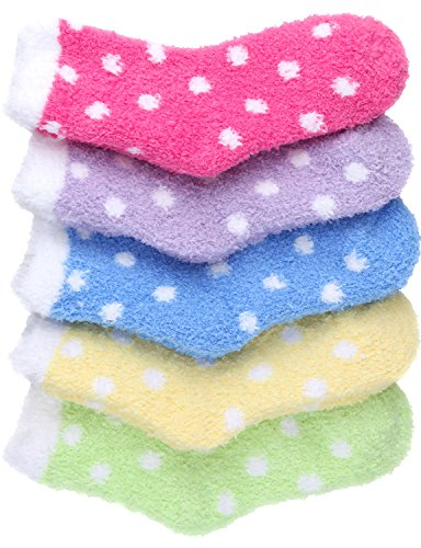 Dot Fuzzy Socks (HASLRA Dot Premium Soft Warm Microfiber Fuzzy Socks 5 Pairs (MIX5))