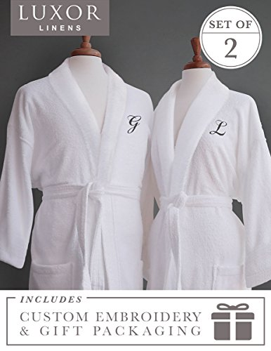 Luxor Linens Couples Terry Cloth Bathrobe Egyptian Cotton Unisex/One Size Luxurious Soft Plush Elegant San Marco (Two Robes, Custom Monogram with Gift Packaging)