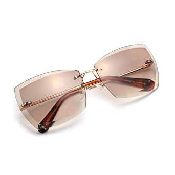 Amazon.com: AEVOGUE Sunglasses For Women Oversized Rimless ...
