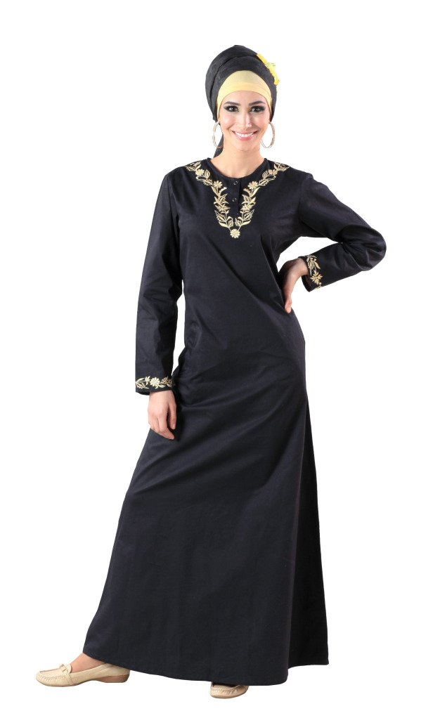 Front Open Hooded Sequin Abaya AJ1225