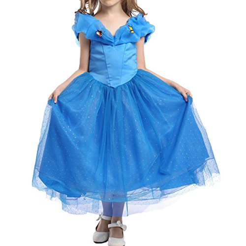 [Quesera Girl's Princess Cinderella Dress V Neck Butterfly Birthday Party Costume, Dark Blue, Kids 4T] (The Shining Halloween Costume Ideas)