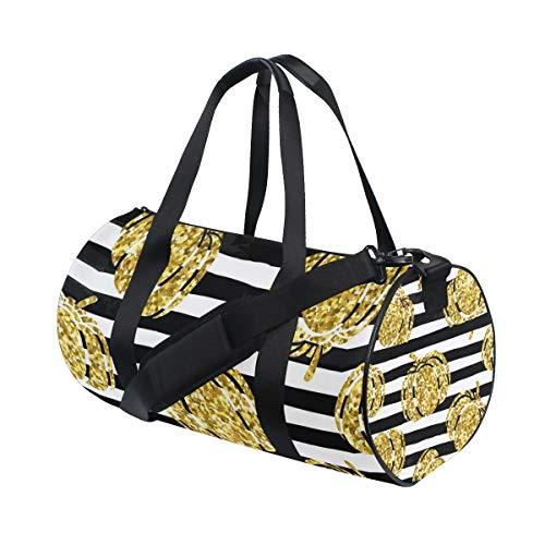 Pumpkin Silhouette - ALLMILL Lightweight Duffle bag Gold Pumpkin Silhouette On Black White Gym bags Oversize Sports bags weekend Overnight Travel handbag for men women student