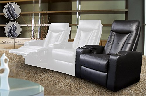 (Coaster Home Furnishings Pavillion Home Theater Adjustable Headrest Right Arm Facing Element Recliner Black)