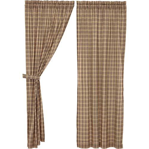 VHC Brands Farmhouse Window Sawyer Mill Tan Curtain Panel Pair, One Size, Charcoal Dark
