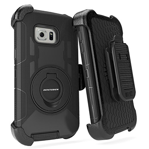 S6 Edge Case, Galaxy S6 Edge Case, BENTOBEN Shockproof Heavy Duty Protection Hybrid Rugged Rubber Case Built-in Rotating Kickstand Belt Swivel Clip Holster Cover for Galaxy S6 Edge (Black)
