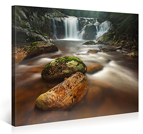 Nature Landscape Pictures (Large Canvas Print Wall Art - HALLS FALLS - 40x30 Inch Nature Landscape Canvas Picture Stretched On A Wooden Frame - Giclee Canvas Printing - Hanging Wall Deco Picture /)