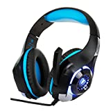 SUKEQ Stereo Gaming Headset for PS4 and PC, Noise Cancelling Over Ear Headphones Earphones with Mic, LED Light for Xbox One, Nintendo (blue)