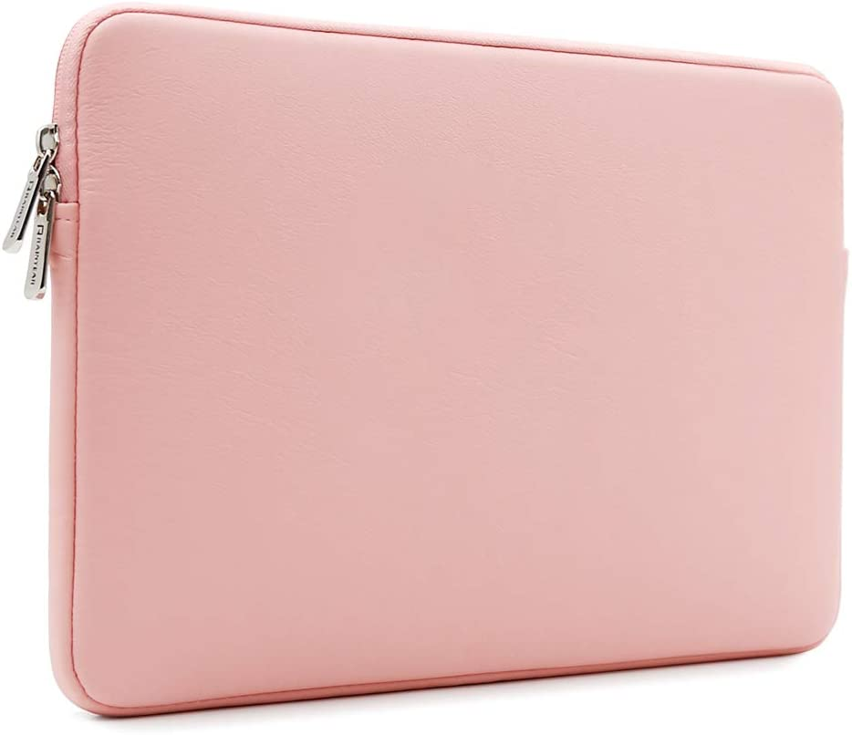 RAINYEAR 14 Inch Laptop Sleeve Soft PU Leather Case Protective Water Resistant Zipper Cover Carrying Bag Compatible with 14