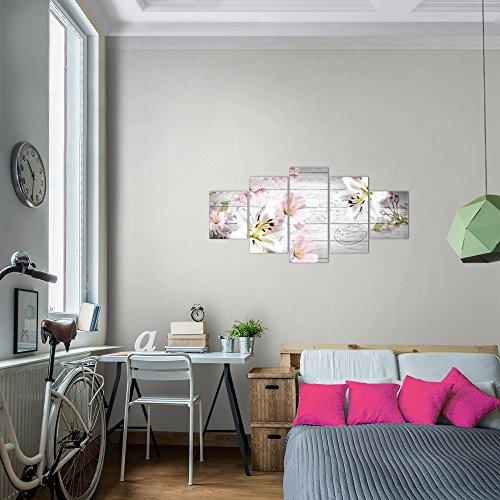 prestigeart-Bilder-Blumen-Lilien-Wandbild-Vlies-Leinwand-Bild-XXL-Format-Wandbilder-Wohnzimmer-Wohnung-Deko-Kunstdrucke-Pink-5-Teilig-100-MADE-IN-GERMANY-Fertig-zum-Aufhngen-201552a