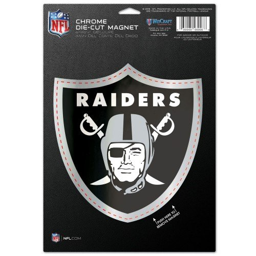 Oakland Raiders NFL 6.25 x 9 Die Cut Chrome Magnet Great for CAr Truck Auto & More weather (Oakland Raiders Box)