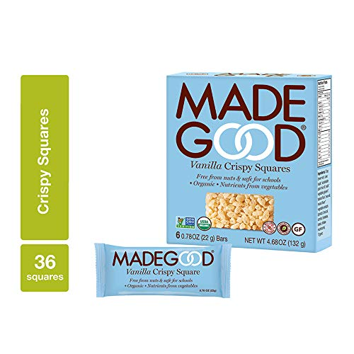 MadeGood Vanilla Crispy Squares, 6 Pack (36 count); Crunchy Rice with Smooth Rich Vanilla; Contains Nutrients of One Full Serving of Vegetables; Gluten-Free, Nut-Free, Organic, Vegan, Non-GMO Treat