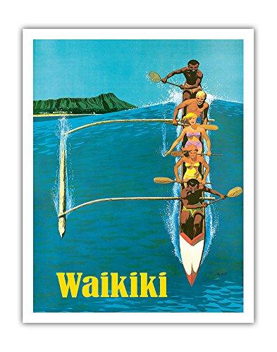 Waikiki - Outrigger Canoe Surfing - United Air Lines - Vintage Hawaiian Travel Poster by Stan Galli c.1960 - Hawaiian Fine Art Print - 11in x ()