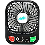 Decdeal JIDIAN Handy Brushless Mini Fan USB Rechargeable 3 Controllable Speed and LED Light Desk Fan