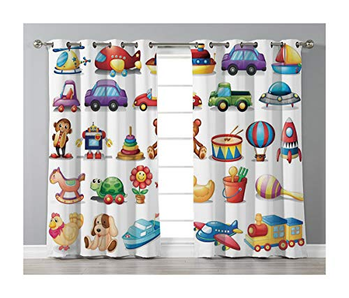 Goods247 Blackout Curtains,Grommets Panels Printed Curtains for Living Room (Set of 2 Panels,55 by 63 Inch Length),Kids