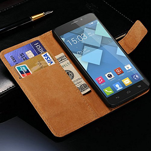 Retro Luxury PU Leather Wallet For Alcatel One Touch Idol X 6040A 6040D Case Vintage Stand Card Holder Brand New --- Color:black phone case