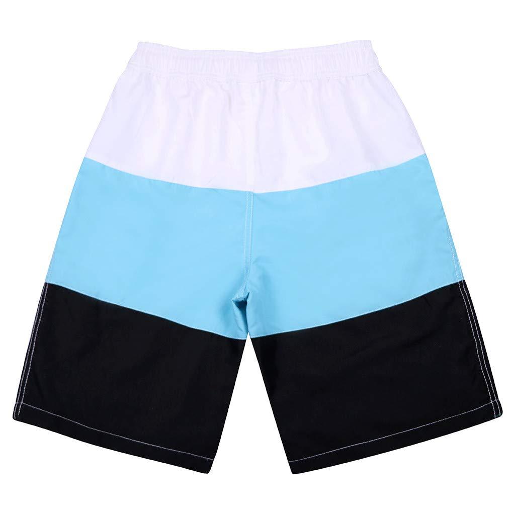 Alangbudu Men Male Jammer Swimsuit Stripe Surf Quick Dry Swim Trunks Athletic Training Elastic Waist Drawstring Board Short