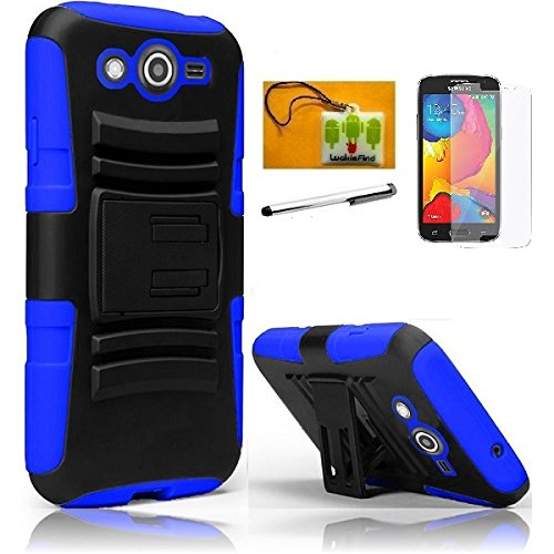 (LF 4 in 1 Boundle - Hybrid Armor Stand Case with Holster and Locking Belt Clip, Lf Stylus Pen, Screen Protctor & Wiper Compatible with (T-Mobile) Samsung Galaxy Avant G386T (Holster Blue))