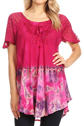 (Sakkas 17783 - Clarice Petite Raglan Lace Up Tie Dye Blouse with Embroidery and Sequins - Fuschia - OSP)