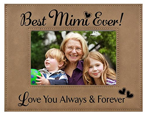 GIFT MIMI PICTURE FRAME ~ Engraved Leatherette Frame ~ Best MiMi Ever - Love You Always & Forever - Mother's Day MIMI Birthday Gift MiMi Christmas Gift Grandma Granddaughter Son (5x7, Beige)