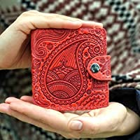 Red Wallet Paisley Real Leather Handmade Full Grain Leather Wallet Occidental Women Wallet Bifold Genuine Leather Purse Gift RFID Bi-Fold Travel Purse Card Holder Organizer Purse Turtle Barefoot