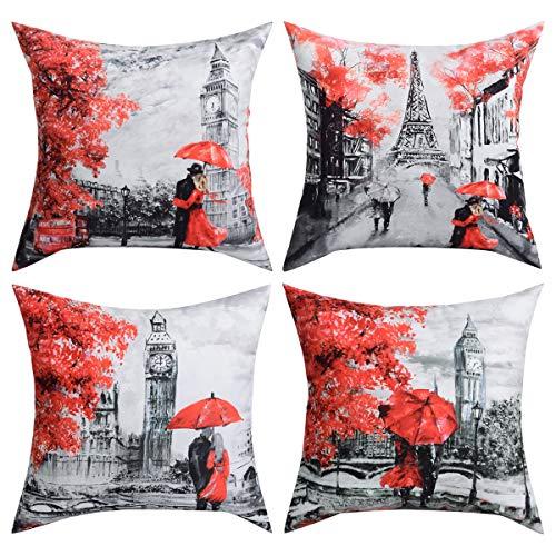 - BLEUM CADE 4 Packs Throw Pillow Covers Black & Red Color Eiffel Tower & Big Ben Modern Couple Under Square Throw Pillow Cover Decorative Pillow Case Home Decor