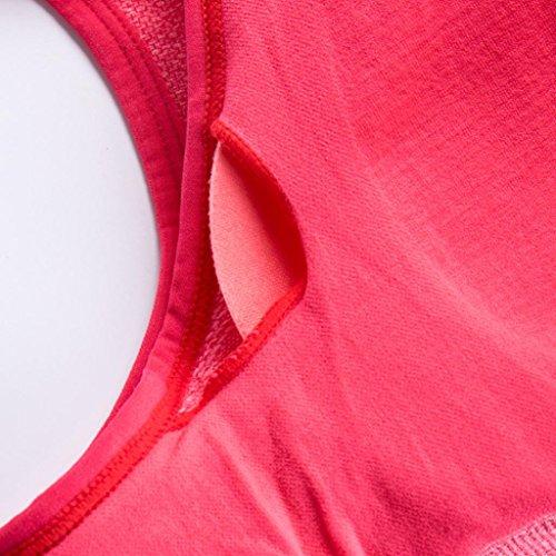Sport BH HARRYSTORE Mujer sosténes deportivas de yoga cómoda y elástico Ropa interior Push Up Camisetas sin mangas para correr Fitness Sandía roja