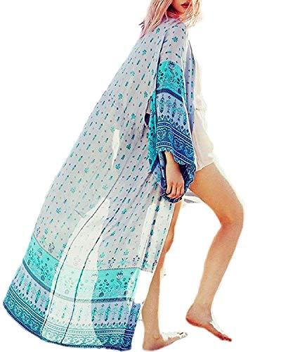 Women's Long Sheer Floral Kimono Cardigan, Chiffon Bikini Beach Cover up, Summer Blouse Loose Tops (B12-light Blue) ()