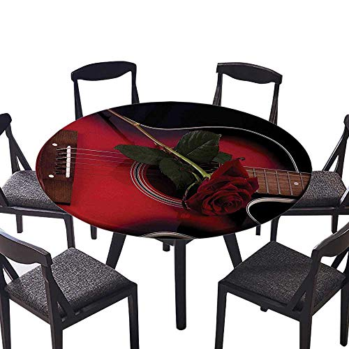 Round Premium Table Cloth Black Spanish Musician Portugal Hand Made Guitar with Romance Theme Love Rose Ruby Perfect for Indoor, Outdoor 55