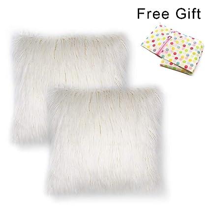 Amazon Com West Bay Faux Fur Throw Pillow Covers 2pcs Home
