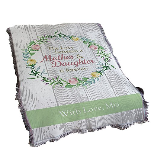 GiftsForYouNow Love Between Mother and Daughter Personalized Tapestry Throw ()