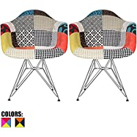 2xhome - Set of Two (2) - Multi-color – Modern Upholstered Eames Style Armchair Fabric Chair Patchwork Multi-pattern Chromed Wire Leg Eiffel Dining Room Chair with Arm for Living Room Dining Room