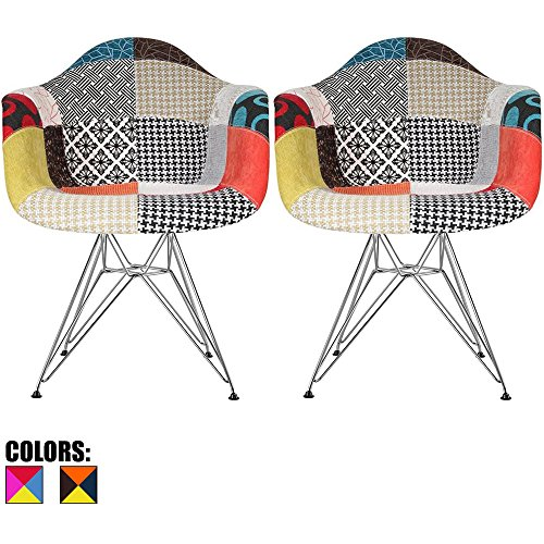 2xhome – Set of Two 2 – Multi-Color – Modern Upholstered Armchair Fabric Chair Patchwork Multi-Pattern Chromed Wire Leg Eiffel Dining Room Chair with Arm for Living Room Dining Room