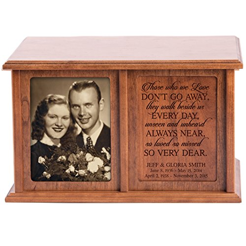 LifeSong Milestones Companion Urns for Humans Ashes Personalized Engraved Double Keepsake Urn for 2 Adults Those we Love Don't go Away Cherry Wood for Home or Columbarium Niche