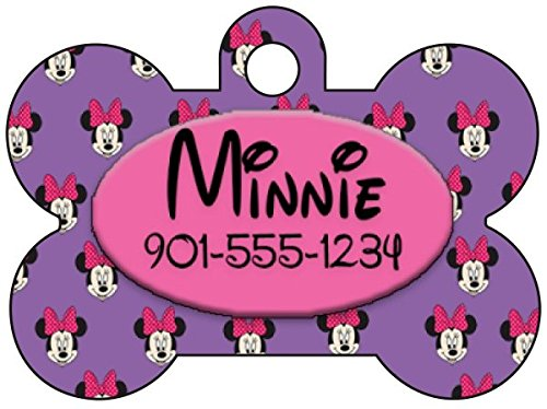 Disney Minnie Mouse Purple Dog Tag Pet Id Tag Personalized w/ Your Pet's Name & Number for $<!--$8.97-->