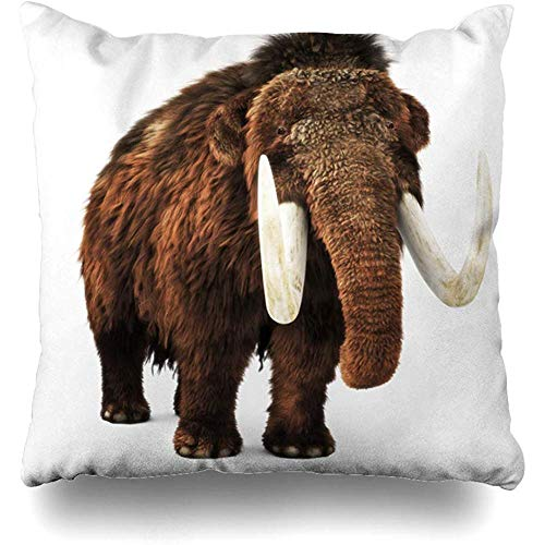Throw Pillow Cover Ears Prehistoric Woolly Mammoth On White Ivory Rendering Nature Ice Age Enormous Giant Home Decor Cushion Case Square Size 18 x 18 Inches Zippered Cases